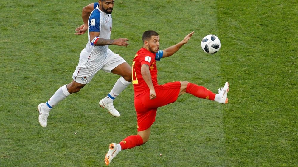 Eden Hazard (en rouge) et la Belgique peuvent se qualifier en cas  de succès, aujourd'hui, contre la Tunisie.
