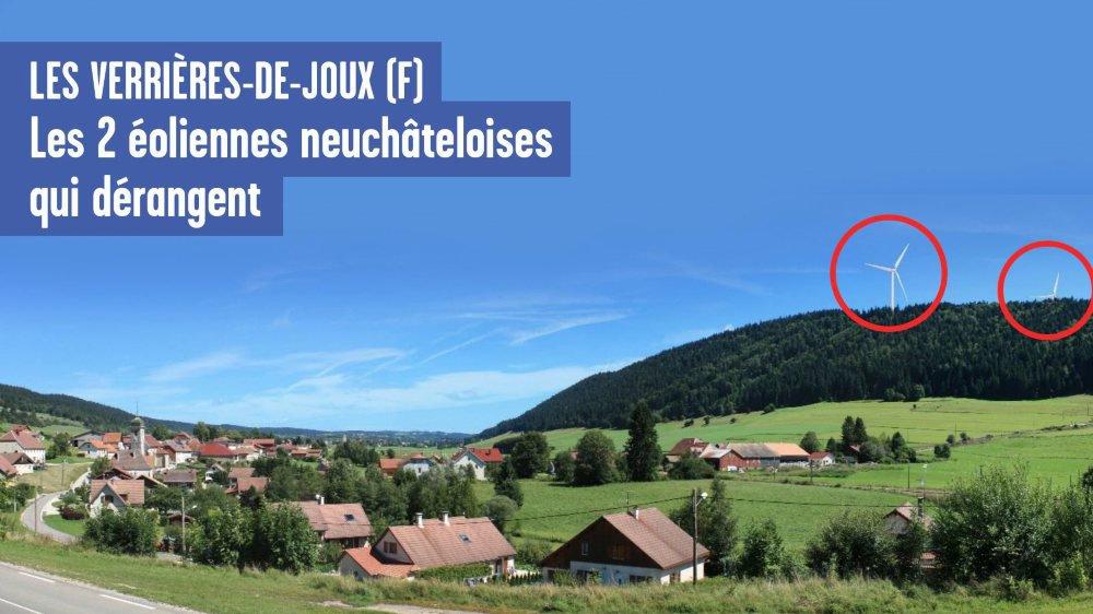 Deux des 19 éoliennes du futur parc se voient très bien depuis le village frontalier des Verrières-de-Joux.