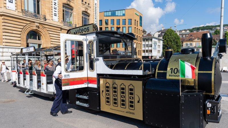 """La """"gare"""" de l'e-train se trouve à la place du Port, à Neuchâtel"""