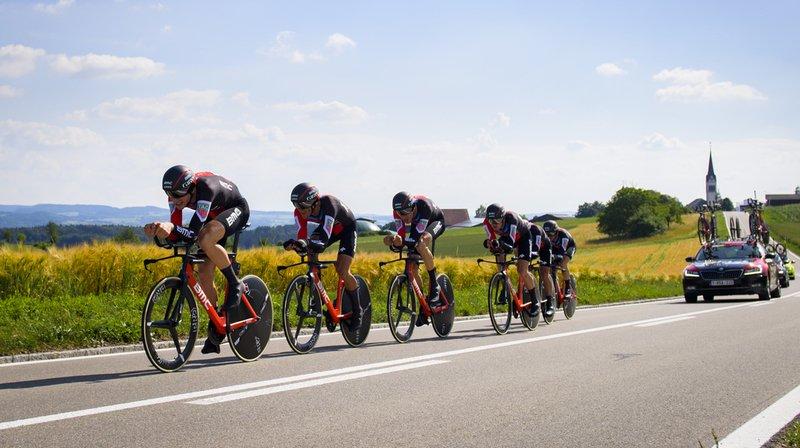 Stefan Küng (en tête) a été l'un des grands artisans du succès de la formation BMC lors de cette première étape du Tour de Suisse, un contre-la-montre de 18 km à Frauenfeld.