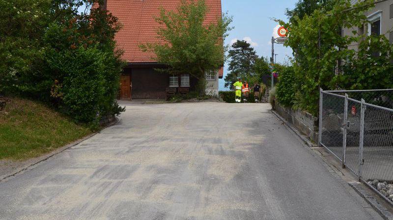 Les pompiers ont dû nettoyer la chaussée et les canalisations souillées.