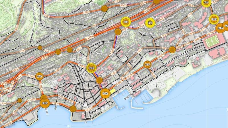 Le système mis sur pied permet notamment de connaître le trafic journalier moyen sur les différents axes.