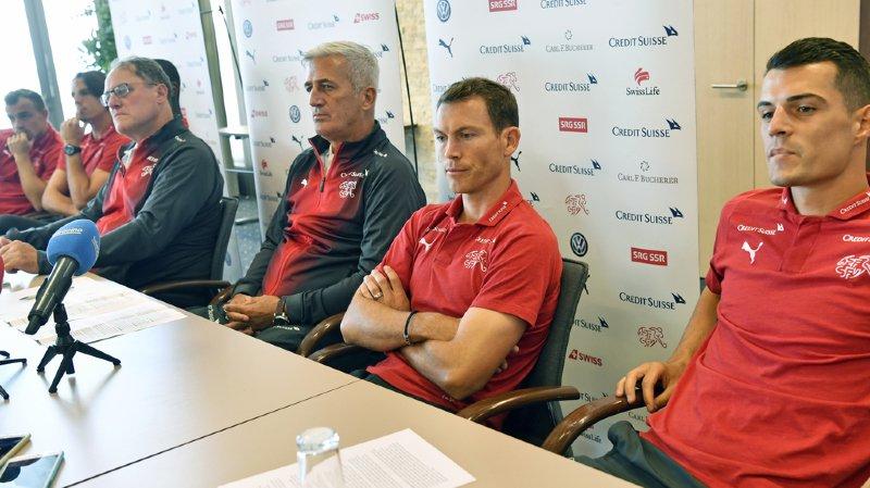 Tous les joueurs de l'équipe de suisse étaient présents lors de cette conférence de presse.
