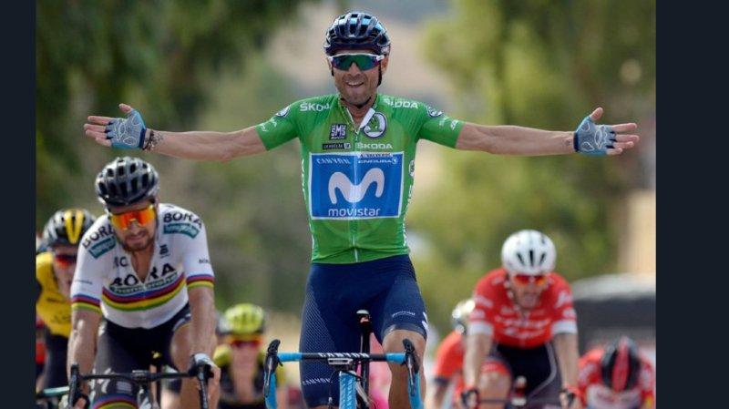 Déjà vainqueur de la deuxième étape, Valverde a récidivé lors de la 8e étape du Tour d'Espagne en s'imposant dans un sprint en côte à Almadén.