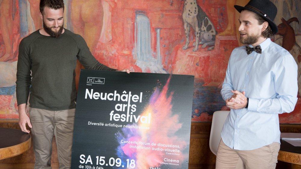 Julien Gueniat (à gauche) et Raphaël Tschudi, à la tête du comité du Neuchâtel Arts Festival.