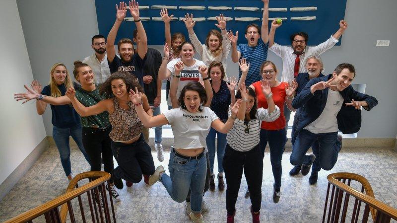 Les étudiants en journalisme de la masterclass de l'AJM, à Neuchâtel, le 14 septembre 2018.