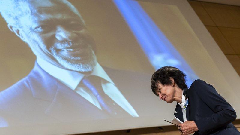 Micheline Calmy-Rey a rendu hommage à Kofi Annan, jeudi à l'ONU à Genève.