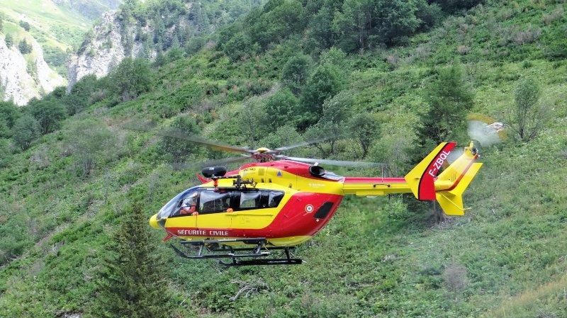 Les secours se sont rendus sur place à bord de l'hélicoptère de la sécurité civile. (illustration)