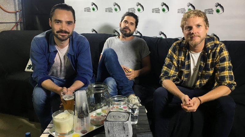 Florian Dubos, Nicolas Chassagne et Benoît Poher, du groupe Kyo, ont répondu à nos questions ce samedi soir au Chant du Gros.