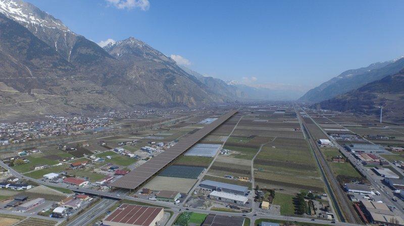 Vue de synthèse du projet Swiss EnergyPier: vallée du Rhône à la hauteur de Fully