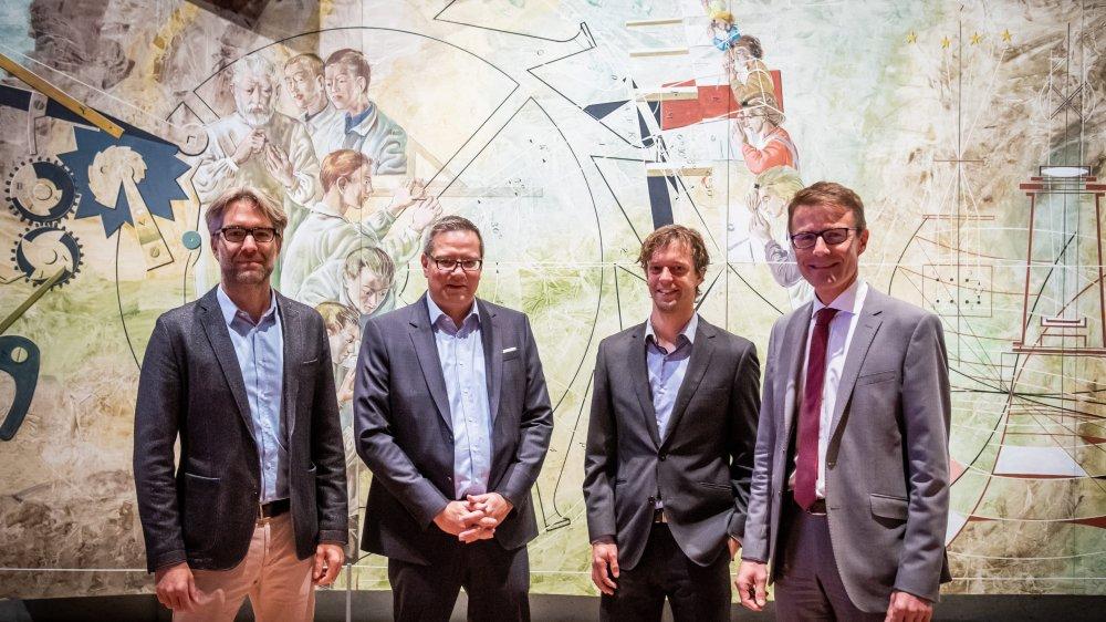 David Guenin (Gimel Rouages), Florian Németi  (CNCI), Hugues Jeannerat (UniNe) et Pierre-Alain Leuenberger (BCN).