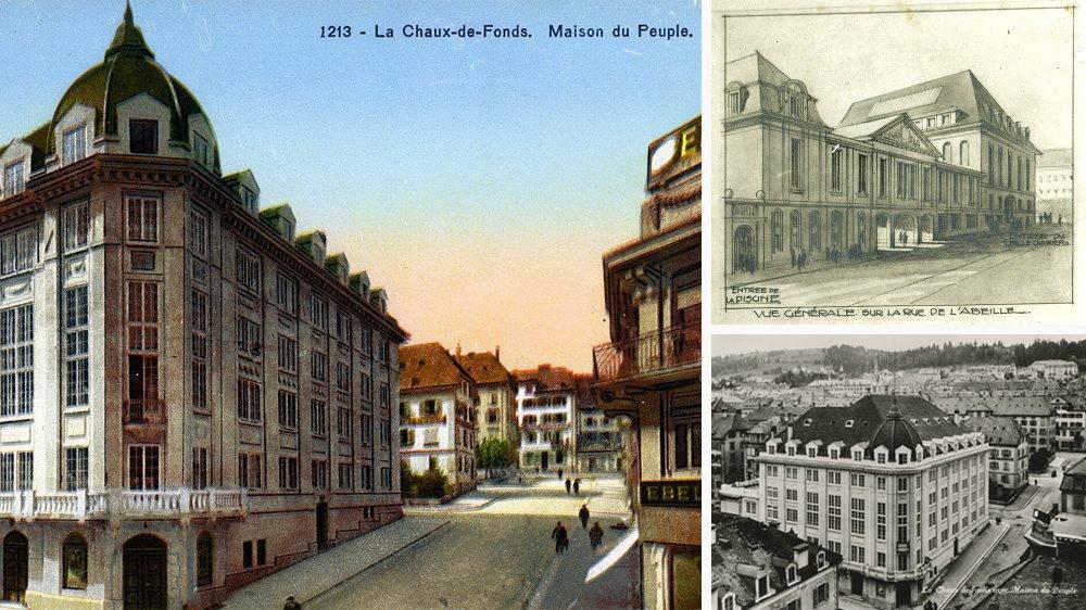 La Maison du peuple de La Chaux-de-Fonds sur cartes postales des années 1930. En haut à droite, un des projets abandonnés dessinés vers 1910.