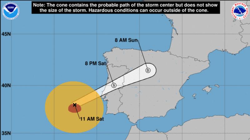 Suivant la vitesse des vents, l'ouragan pourrait atteindre l'intérieur des terres.