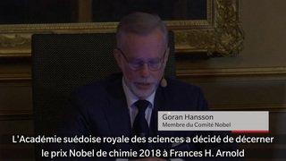 Le Nobel de chimie 2018 à un trio américano-britannique