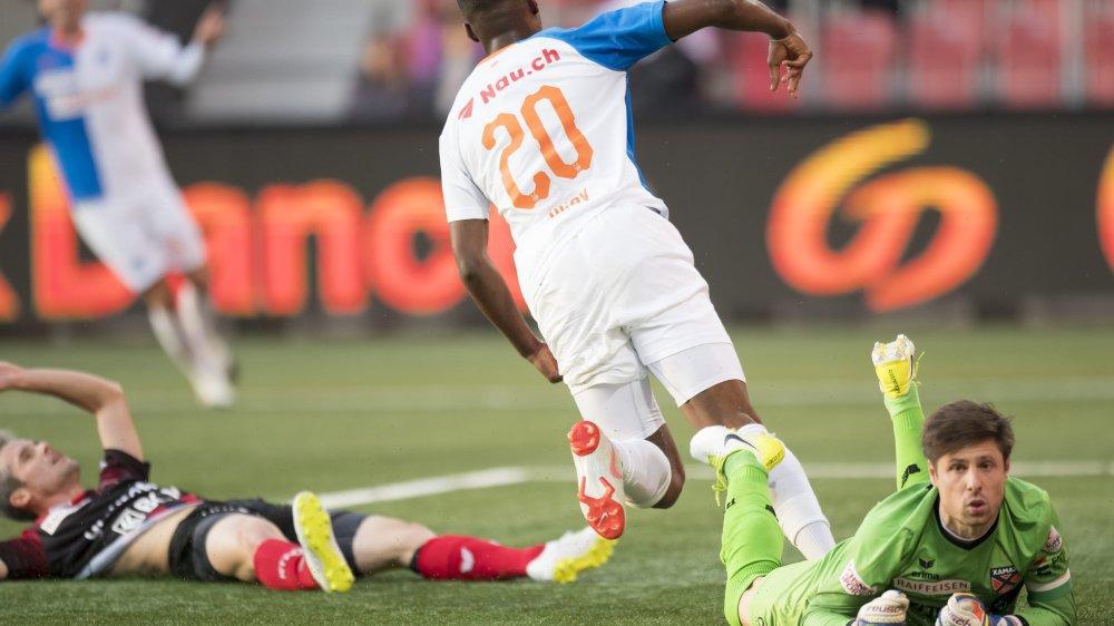 Julien Ngoy vient d'ouvrir le score: les Xamaxiens ne s'en remettront pas.