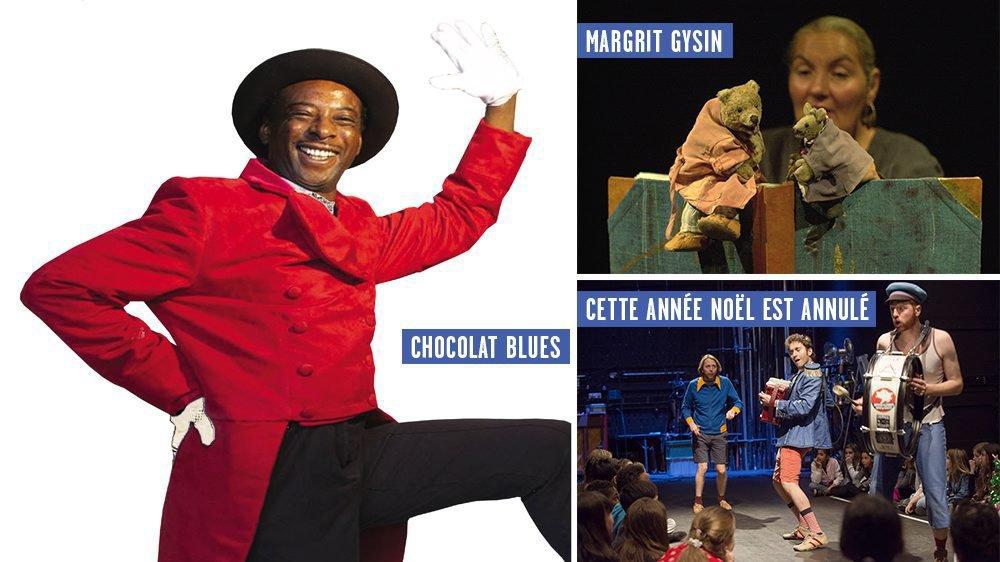"""""""Chocolat Blues"""", """"Mimi et Brumm font une fête"""" et """"Cette année, Noël est annulé"""", trois spectacles jeune public présentés en novembre dans le canton de Neuchâtel."""