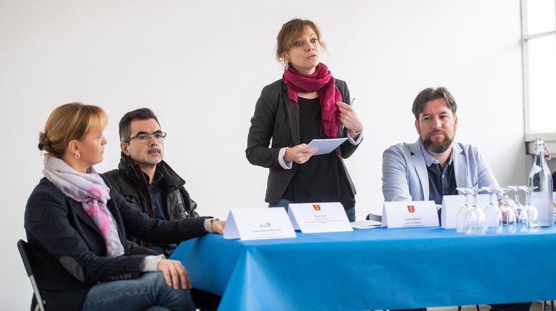 Quatre des conseillers communaux présents. De gauche à droite, Violaine Blétry-de-Montmollin (Neuchâtel), Mario Vieira et Aurélie Widmer (Valangin) et Didier Boillat (Corcelles-Cormondrèche).
