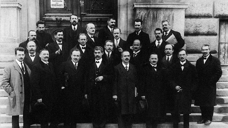 Les responsables du comité d'Olten, à l'origine de la grève générale de 1918.