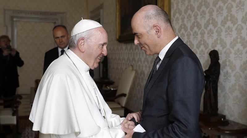 Alain Berset (droite) a rencontré le pape.