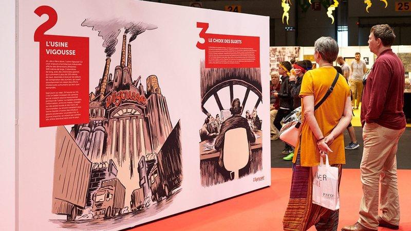 """""""Vigousse"""" fabriqué en usine: une exposition à voir dès ce lundi 29 octobre au temple du Bas, à Neuchâtel (ici au Salon du livre de Genève, en mai dernier)."""