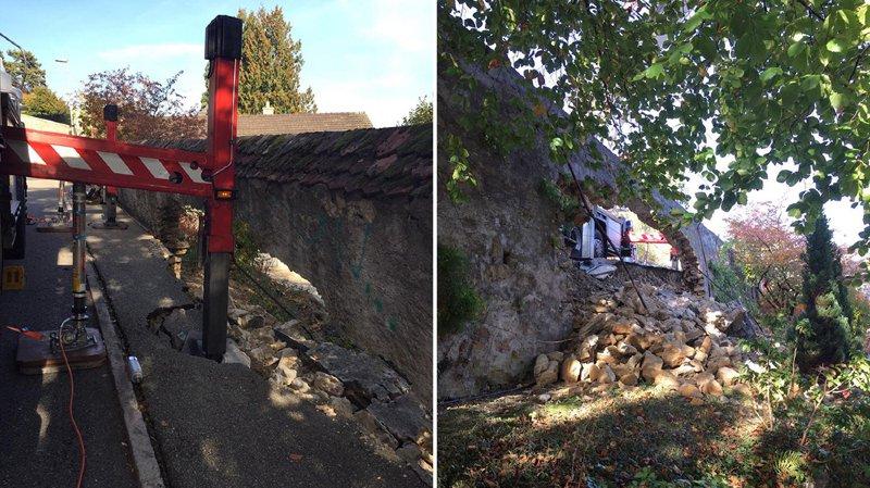 Les pompiers de la Ville de Neuchâtel ont détruit un bout de trottoir et un morceau de mur.