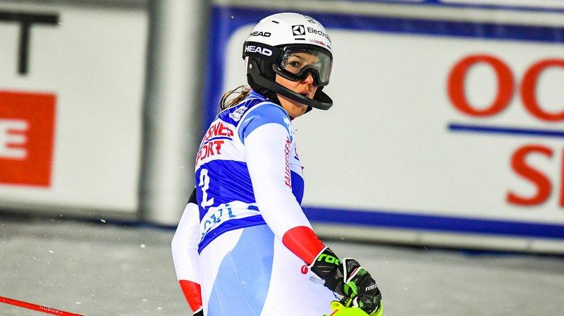 Wendy Holdener possédait le meilleur chrono jusqu'au deuxième temps intermédiaire avant de perdre du terrain.