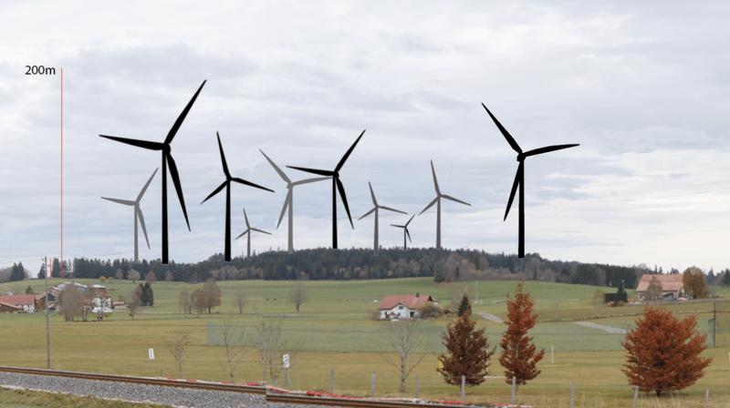 Paysage des Bois imaginé avec une dizaine d'éoliennes de 200 mètres de haut.
