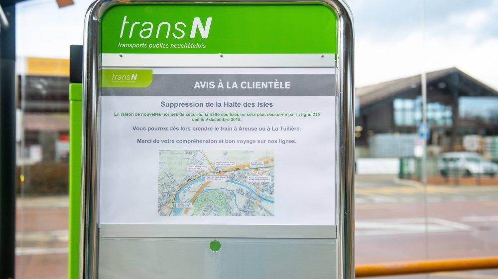 L'arrêt de tram Les Isles, entre Areuse et Tuilière est supprimé dès dimanche 9 décembre.