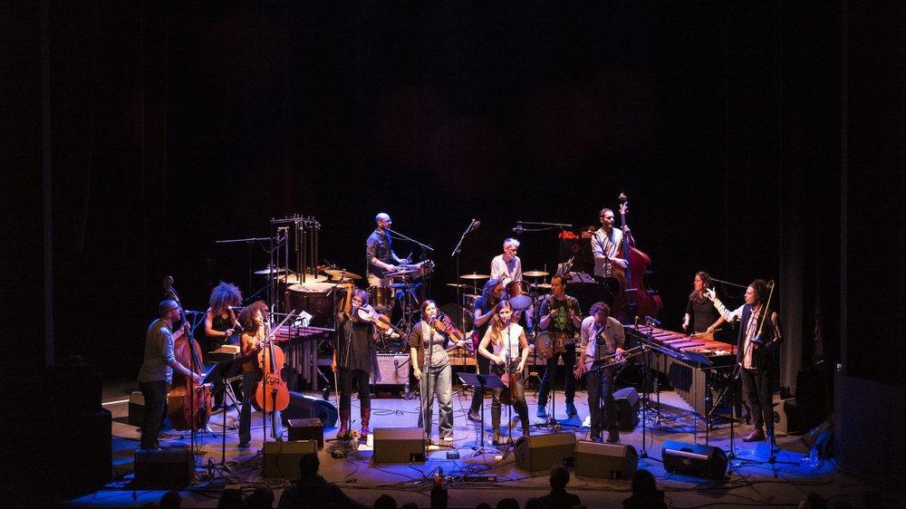 L'Orchestre Tout Puissant Marcel Duchamp XXL compte 14 musiciens, ainsi que deux techniciens.