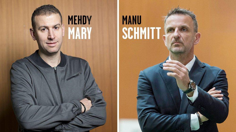 Mehdy Mary et Manu Schmitt, présent et passé d'Union Neuchâtel. Photos : Muriel Antille et archives Lucas Vuitel