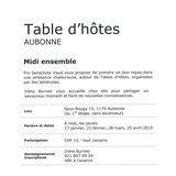 """Table d'hôte """"Midi ensemble"""""""