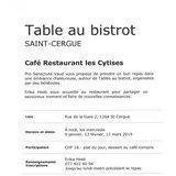 """Table au bistro """"Café Restaurant les Cytises"""""""