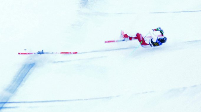 Marc Gisin a lourdement chuté lors de la descente de samedi à Val Gardena.