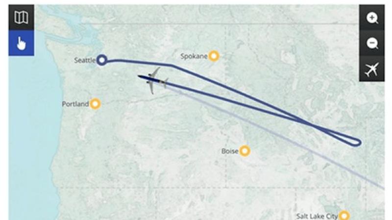 Le passager Andrew Gottschalk a fait une capture d'écran du trajet effectué par l'avion.
