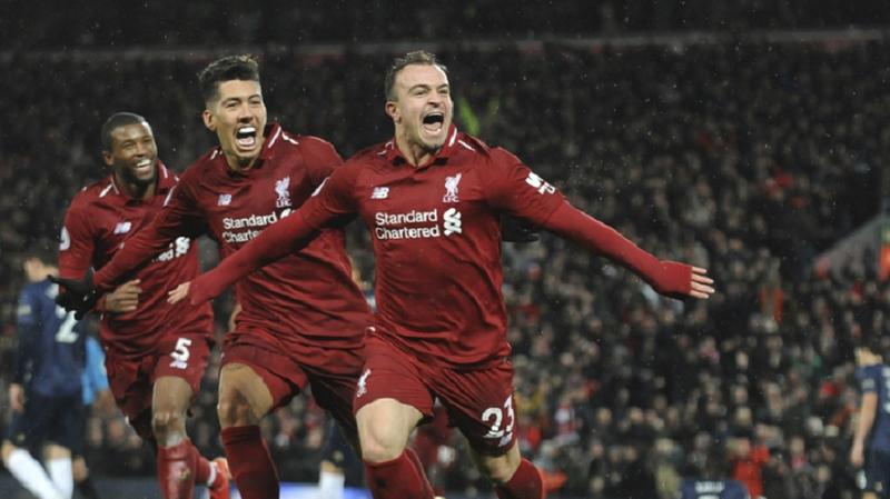 Football – Angleterre: Shaqiri inscrit un doublé et offre la victoire à Liverpool face à Manchester United