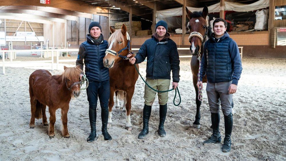 Bryan Balsiger, son frère Ken et Mirco Morelli (de gauche à droite) ont relancé l'école d'équitation qui les a formés.