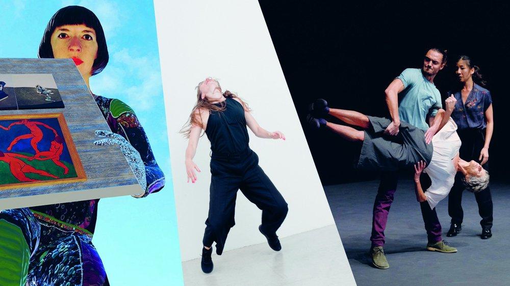 De gauche à droite: la compagnie Gilles Jobin, Tabea Martin, et la compagnie Zeitsprung, tous trois programmés dans la nouvelle saison d'Hiver de danses.