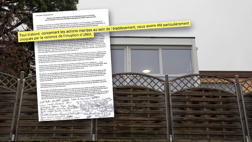 La lettre signée par une majorité du personnel du home des Trois-Portes, à Neuchâtel