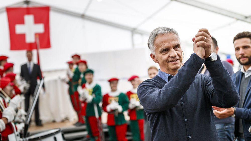 Didier Burkhalter à Auvernier en septembre 2017 à l'occasion de la Journée du PLR suisse.