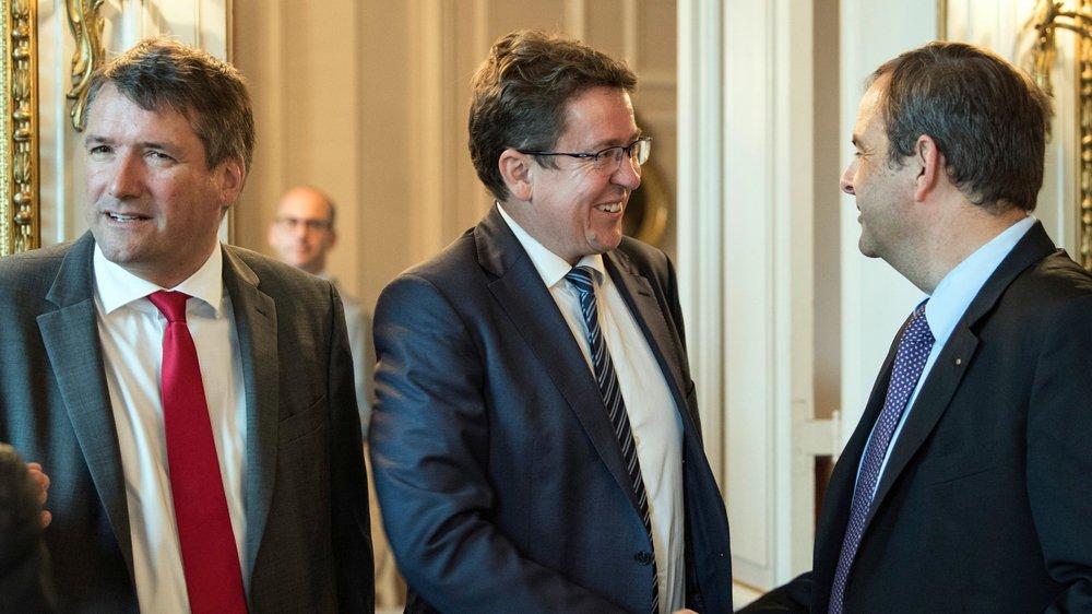 Alors que le PS du président Christian Levrat est parfois esseulé, l'UDC d'Albert Rœsti et le PDC de Gerhard Pfister (de gauche à droite) cherchent  de nouvelles alliances.