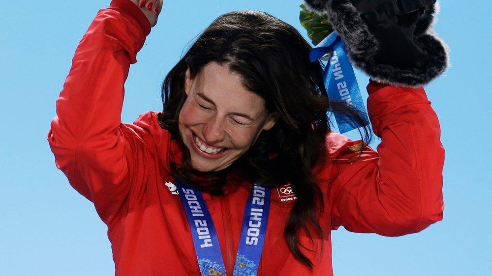 les larmes de joie de Dominique Gisin après sa médaille d'or à Sotchi.