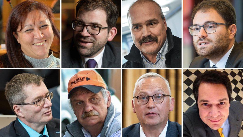 De gauche à droite: Sandra Menoud, Damien Cottier, Philippe Bauer, Fabio Bongiovanni, Jean-Paul Wettstein, Stéphane Rosselet, Andreas Jurt et Patrice Zürcher.