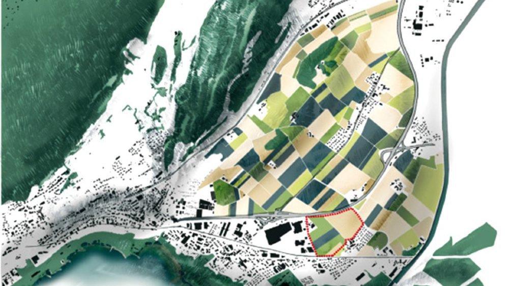 La zone (délimitée par des traitillés rouges) du futur pôle de développement de La Tène, à Marin.