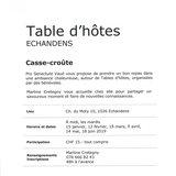 """Table d'hôtes """"Casse-croûte"""" pro senectute"""