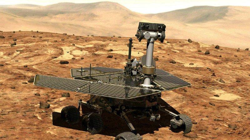 """Opportunity est tombé en panne lorsqu'une tempête de poussière a empêché, pendant des mois, les rayons du Soleil de recharger les batteries du """"rover""""."""