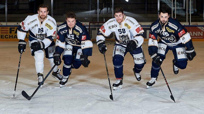 Pascal Zubler, DanielCarbis, Arnaud Jaquet et Samuel Grezet (de gauche à droite) sont fiers de défendre les couleurs du HCC lors de cette saison spéciale.