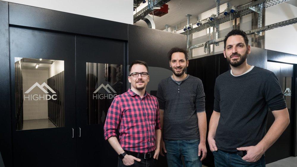 Lionel Riem. chef du projet HighDC avec Fabien et Mikaël Zennaro.  La Chaux-de-Fonds, le 19 fevrier 2019 Photo : Lucas Vuitel