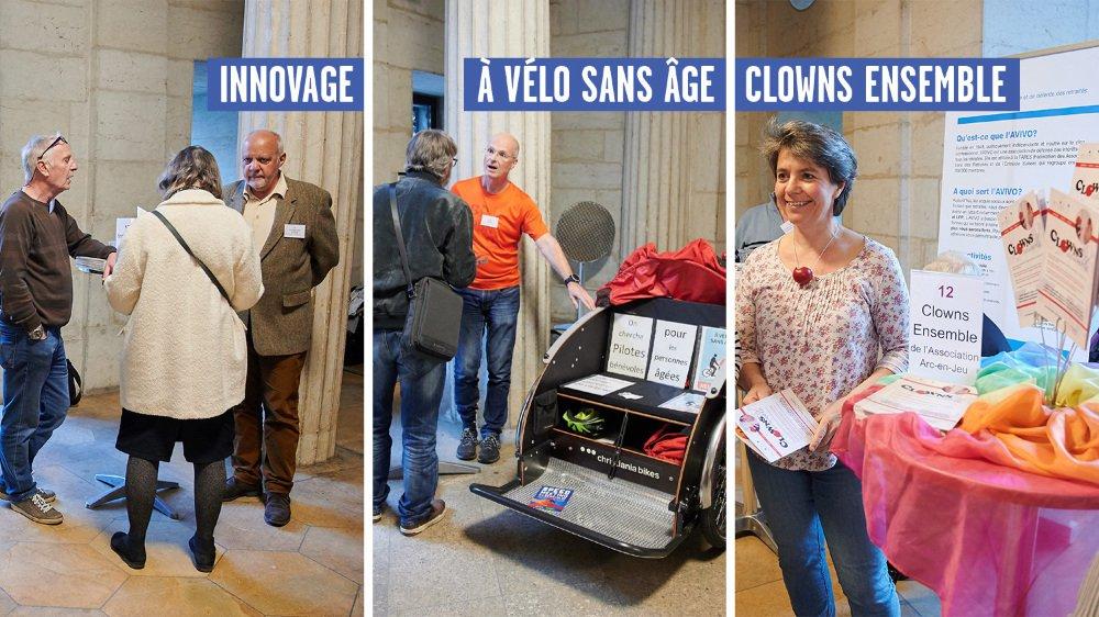 Le speed meeting des bénévoles a investi cette année le péristyle de l'hôtel de ville de Neuchâtel.