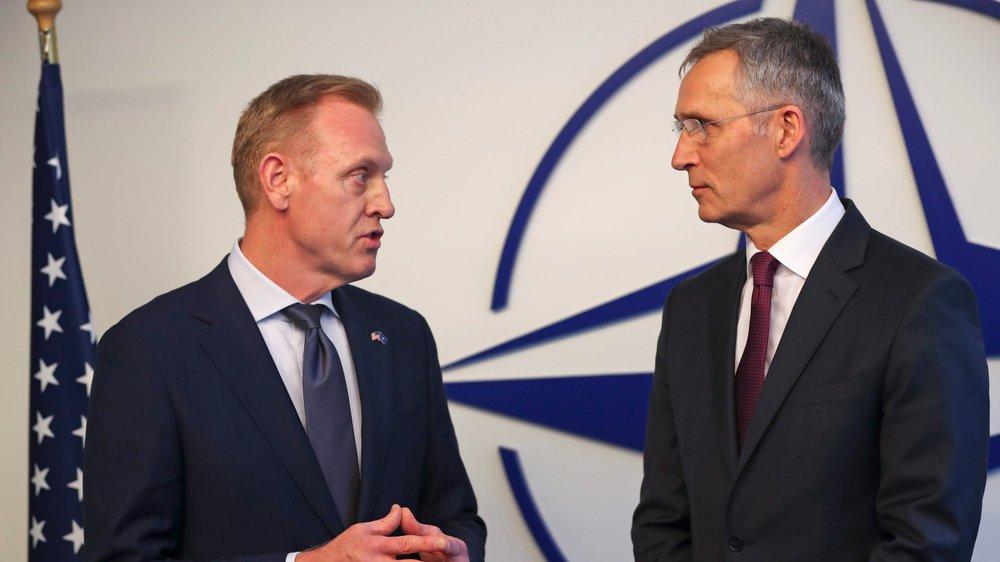 La position des Etats-Unis – à gauche, le secrétaire américain à la Défense, Patrick Shanahan – inquiète l'Otan et son secrétaire général, Jens Stoltenberg.
