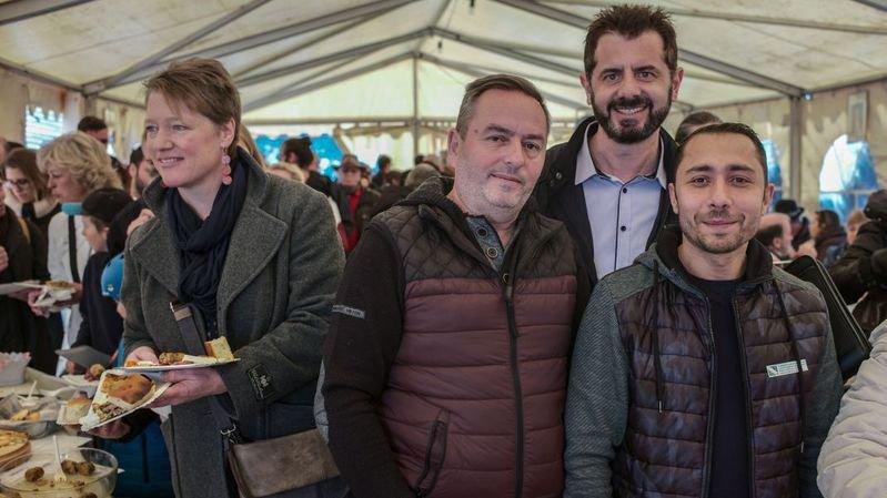 Rexhë Shala, Sokol Mehmetaj et Burim Ahmetaj, de gauche à droite, à Couvet.